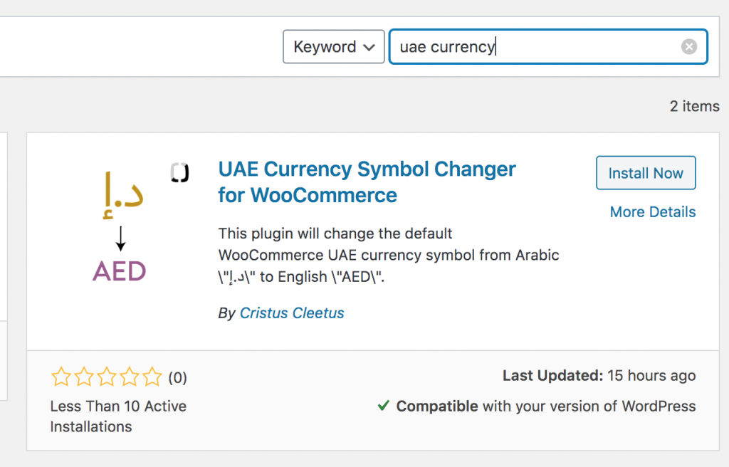 Search Results on the WordPress Plugin Search section. Just install and Activate to change currency symbol to English.